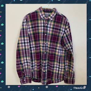 Men's Old Navy Burgundy Plaid Shirt Size Large